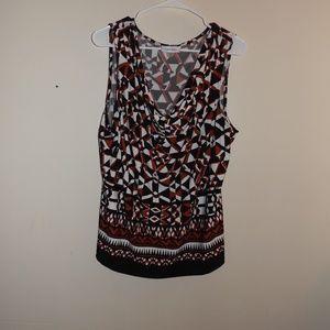 Calvin Klein Red Black Blouse 1X sleeveless